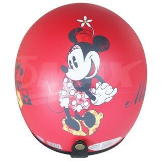 米妮全可拆半罩式機車安全帽-紅色+抗uv短鏡片+6入安全帽內襯套(12H)