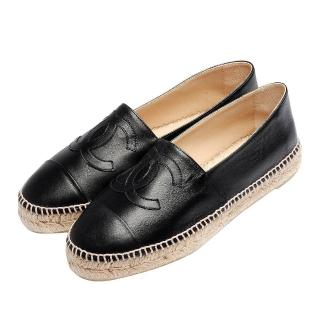【CHANEL】經典Espadrilles小香LOGO小羊皮鉛筆鞋(黑G29762-X01000-BLK)