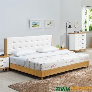 【綠活居】羅曼達 原木紋雙色5尺雙人床台組合(不含床墊)