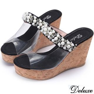 【Deluxe】閃耀黑水鑽珍珠厚底楔型涼鞋(黑)