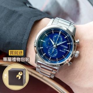 【CITIZEN 星辰】Eco-Drive 三眼計時光動能錶-藍(CA0610-52L)