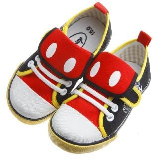【布布童鞋】Disney迪士尼米奇黑色翻領造型帆布休閒鞋(MDU606D)