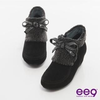 【ee9】完美時尚-璀燦水鑽異材質拼接踝靴*黑色(踝靴)
