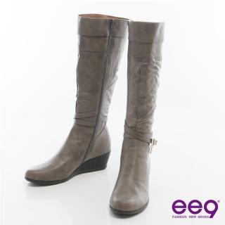 【ee9】率性都會-皮帶環釦纏繞百搭楔型長靴*灰色(高筒靴)