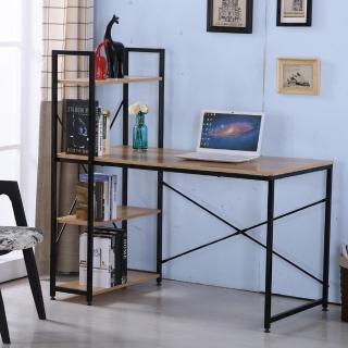 【AT HOME】艾美4尺本色黑腳書架型書桌