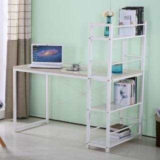 【AT HOME】艾美4尺本色白腳書架型書桌