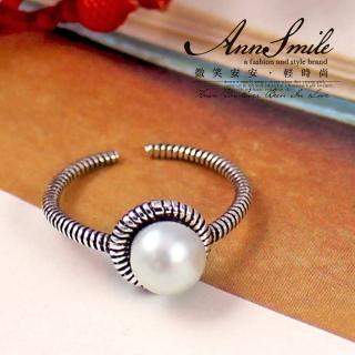 【微笑安安】珍珠復古細環925純銀活動式戒指尾戒