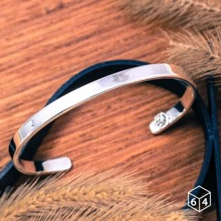 【ART64】手環 手鐲 品牌C型手環 亮面-小999純銀手環