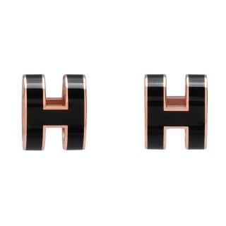 【HERMES】經典立體H LOGO簍空橢圓穿式耳環(黑X玫瑰金H608001F-NOIR-ROSE)