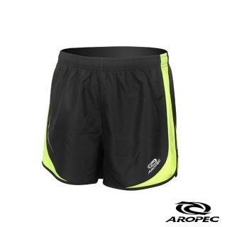 【AROPEC】RUNNING 男款透氣慢跑短褲(黑/螢光黃)