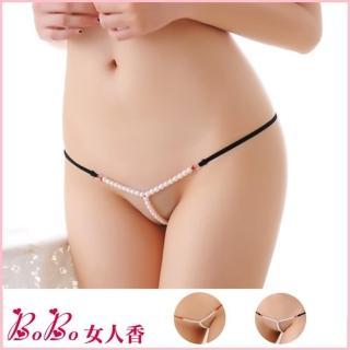 【BoBo女人香】c極度誘惑全透明Y型珍珠開檔低腰內褲-按摩情趣丁字褲(C160)