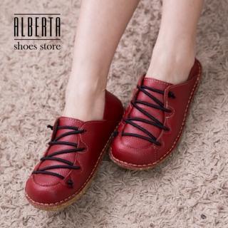 【Alberta】復古皮革質感 繫帶造型好穿脫 鞋底舒適 小厚底休閒鞋 懶人鞋(紅色)
