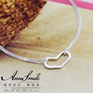 【微笑安安】鏤空愛心925純銀細緻手鍊