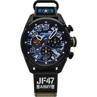 【elegantsis】Army 戰地迷彩三眼計時套錶-藍x黑/48mm(ELJF47-6U02MA)