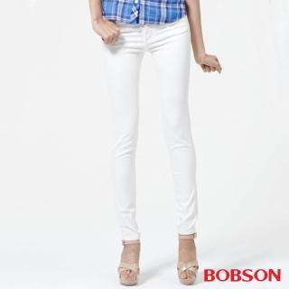 【BOBSON】女款高腰膠原蛋白彩色小直筒褲(白8126-80)