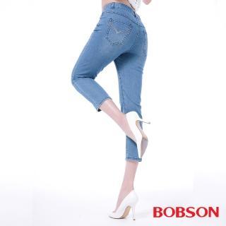 【BOBSON】女款高腰膠原蛋白七分褲(208-58)