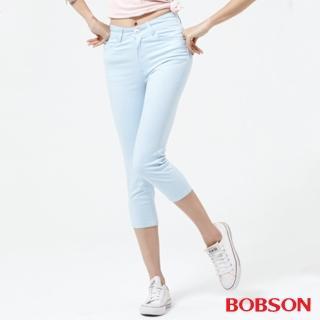 【BOBSON】女款高腰膠原蛋白彩色七分褲(222-50)