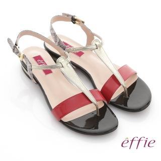 【effie】全真皮蛇紋撞色飾條T字涼鞋(桃粉紅)
