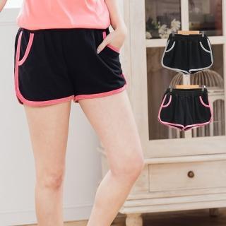 【衣心衣意中大尺碼】日系配色層次口袋休閒短褲(灰-粉B8022)