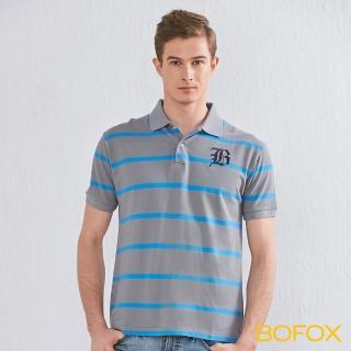 【BOFOX 寶狐】字母刺繡條紋POLO衫(灰藍)