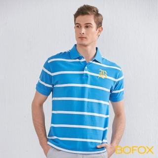 【BOFOX 寶狐】字母刺繡條紋POLO衫(藍白)