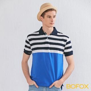 【BOFOX 寶狐】海軍風條紋拼接POLO衫