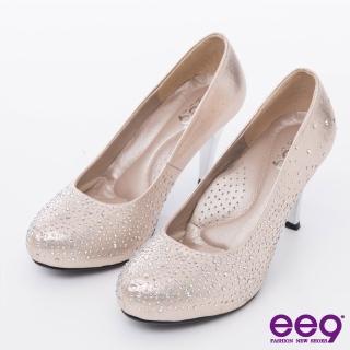 【ee9】心滿益足-璀璨低調奢華進口閃亮布夢幻水鑽高跟鞋*粉色(高跟鞋)