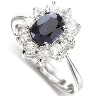 【寶石方塊】璀璨風華天然1克拉黑藍寶石戒-女戒-活圍設計