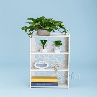 【Osun】DIY木塑板置物架 歐式白色雕花三層櫻花書架(CE-178-YH8240)