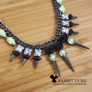 【RD 兔子公爵】經典歐美風格 個性特殊尖錐設計款混搭寶石項鍊