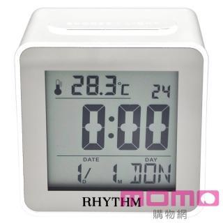 【RHYTHM日本麗聲】時尚造型LED夜光方型電子鐘(簡約純白)