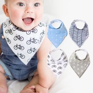 【美國 Copper Pearl】雙面領巾造型圍兜口水巾4件組 - 藍灰三角飛機腳踏車ZACPBJJXT(快速到貨)