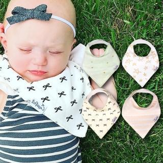 【美國 Copper Pearl】雙面領巾造型圍兜口水巾4件組 - 淺粉綠黃蝴蝶結星星ZACPBJIPN(快速到貨)