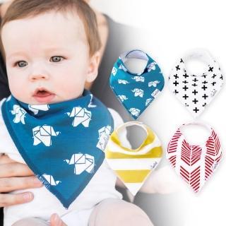 【美國 Copper Pearl】雙面領巾造型圍兜口水巾4件組 - 紅藍黃十字紙鶴ZACPX1S5V(快速到貨)