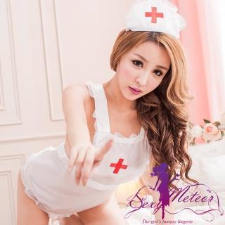 【Sexy Meteor】PA2133全尺碼-白衣天使角色扮演圍裙護士服+丁字褲+帽3件組(清新白)