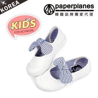 【PAPERPLANES韓國童鞋】正韓空運。可愛條紋蝴蝶結魔鬼氈帆布鞋(7-7728白/現+預)