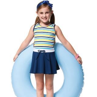 【SARBIS】泡湯SPA戲水女童連身裙泳裝(附泳帽B88608)