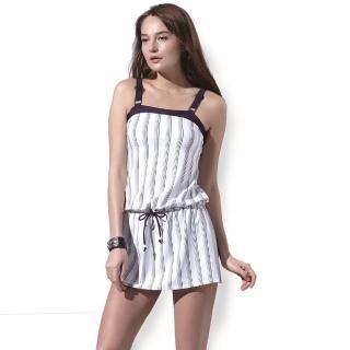 【SARBIS】戲水/沙灘/踏浪大女二件式連身裙泳裝(附泳帽B92635)