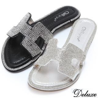 【Deluxe】亮麗貴氣水鑽H造型拖鞋(黑★銀)