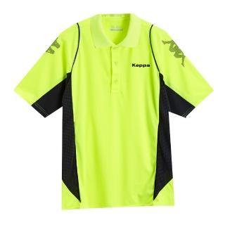 【KAPPA】義大利型男吸濕排汗速乾KOOL-DRY POLO衫(螢光黃 深灰底炭灰點)