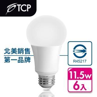 【美國TCP】11.5W LED 廣角型節能省電燈泡(6入-快)