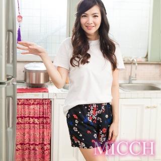 【MICCH】涼夏輕薄透氣 嫘縈棉柔 MIT休閒短褲(燕舞花季)