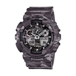 【CASIO 卡西歐 G-SHOCK 系列】迷彩超人氣指針數位雙顯錶(GA-100CM)