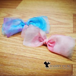 【RD 兔子公爵】經典歐美風格 個性渲染粉嫩色彩蝴蝶結紗質髮夾