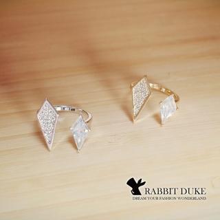 【RABBIT DUKE】個性平行對稱菱形鑽戒指
