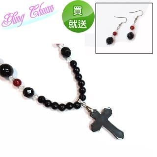 【YC寶石】黑膽石十字架項鍊(超值2件組)