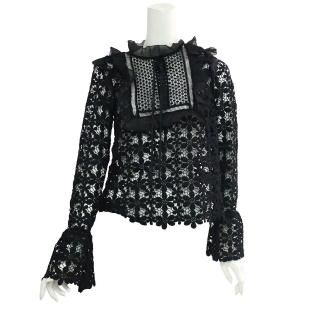【SELF-PORTRAIT】蕾絲荷葉邊長袖上衣(黑色)