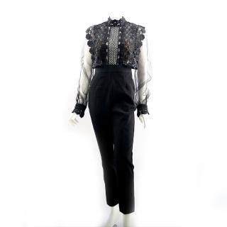 【SELF-PORTRAIT】雪紡蕾絲連身褲裝(黑色)