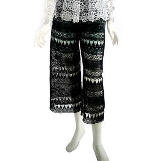 【SELF-PORTRAIT】蕾絲寬褲(黑/灰色)