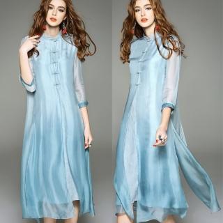 【BRIGA BSB0527】BRIGA BSB0527復古中國風改良旗袍純色真絲假兩件連衣裙(BSB0527)